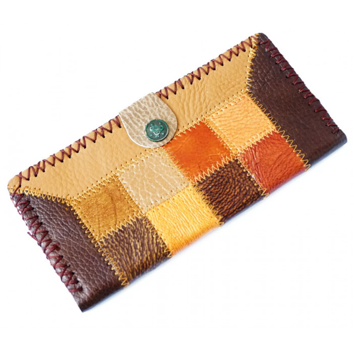 Wallet leather Rectangle Squares