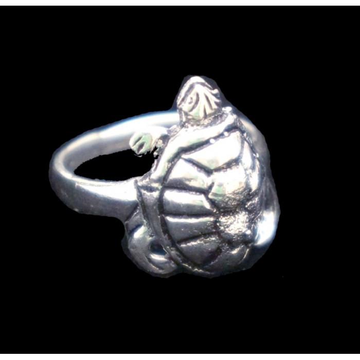 Кольцо Черепаха белый метал 2см.