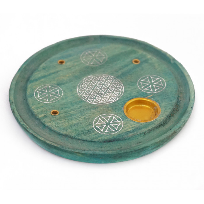 """Stand for aroma sticks and cones """"Flower of Life"""" Light green"""