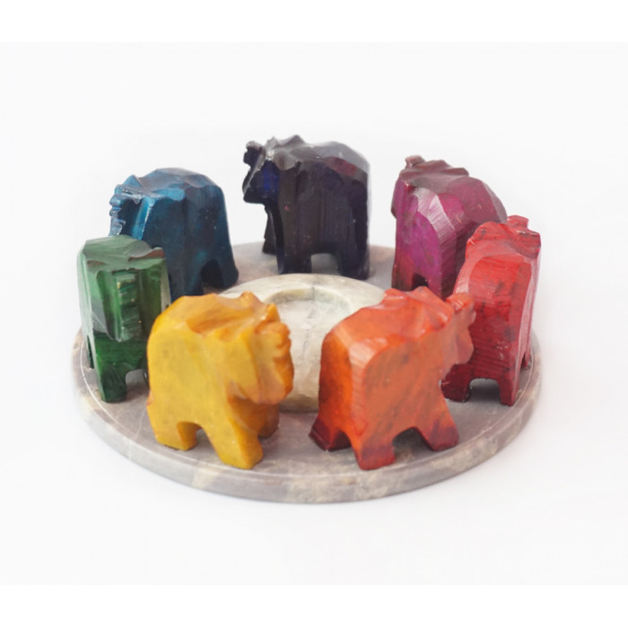 """Stand for aroma sticks """"Seven elephants in a circle"""""""