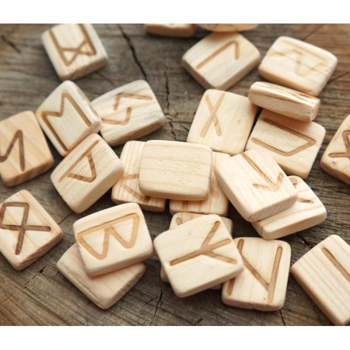 Set of wooden runes for divination Oak