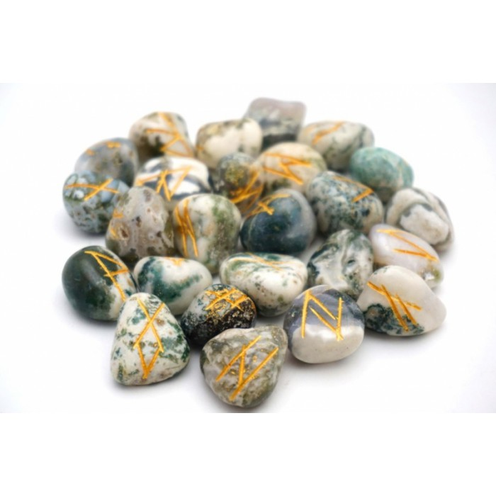 Set of RUNES for divination from Wood Agate