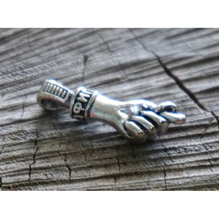 Амулет кошельковый белый метал Фига
