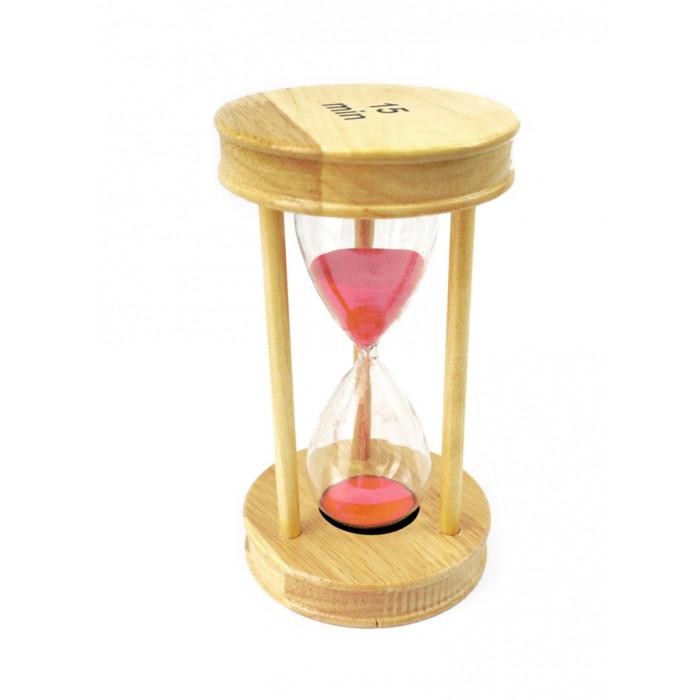 "Hourglass ""Circle"" glass + light wood 15 minutes Pink sand"