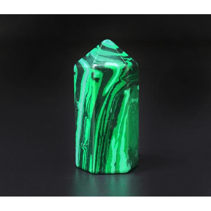 """Crystal """"Obelisk"""" hexagonal polymer malachite"""