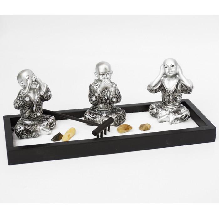 "Zen set ""Rock Garden"" Three monks"