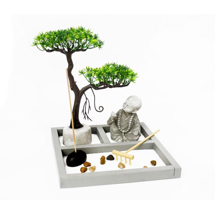 "Zen set ""Rock Garden"" Monk under a tree"